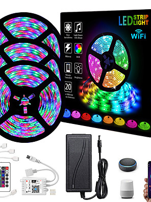 cheap Bras-ZDM Intelligent Dimming App Control Flexible Led Strip Lights 15M (3*5M) 2835 RGB SMD IR 24 Key Controller with 12V 3A Adapter Kit