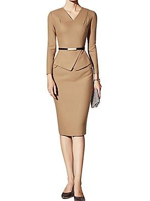 cheap Vintage Dresses-Women's Shift Dress Knee Length Dress - Long Sleeve Solid Color Summer Casual Vintage Daily 2020 Camel S M L XL XXL XXXL
