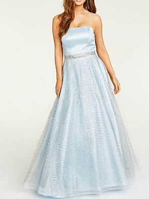 cheap Prom Dresses-A-Line Elegant Sparkle Engagement Formal Evening Dress Strapless Sleeveless Floor Length Satin Tulle with Pleats Crystals 2020