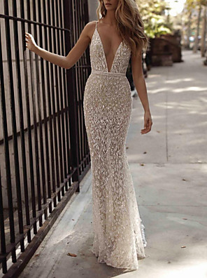 cheap Wedding Dresses-Mermaid / Trumpet Wedding Dresses V Neck Spaghetti Strap Floor Length Lace Sleeveless Sexy See-Through with Sashes / Ribbons Embroidery 2020