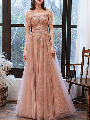 cheap Evening Dresses-A-Line Glittering Pink Prom Formal Evening Dress Off Shoulder Short Sleeve Floor Length Tulle with Sequin 2020