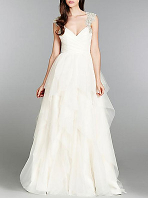 cheap Evening Dresses-A-Line Wedding Dresses V Neck Sweep / Brush Train Tulle Chiffon Over Satin Cap Sleeve Sexy Backless with Beading Appliques Cascading Ruffles 2020