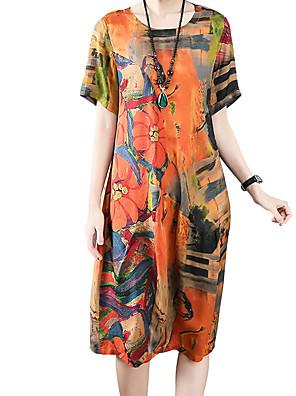 cheap Women's Dresses-Women's A Line Dress - Short Sleeves Print Summer Fall Casual Slim 2020 Khaki M L XL XXL XXXL XXXXL