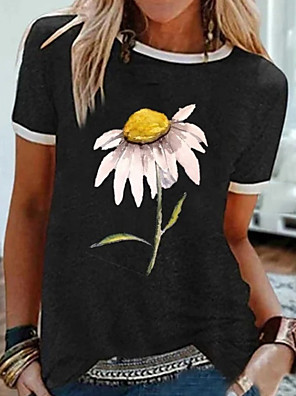 cheap Women's T-shirts-Women's T-shirt Floral Tops Black Gray / Short Sleeve