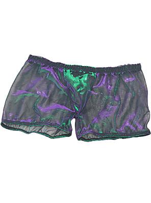 cheap Men's Exotic Underwear-Men's Mesh Boxers Underwear - Normal Low Waist Rainbow One-Size
