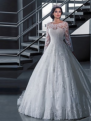 cheap Wedding Dresses-A-Line Wedding Dresses Off Shoulder Court Train Lace Tulle Long Sleeve Formal Sexy Illusion Sleeve with Appliques 2020