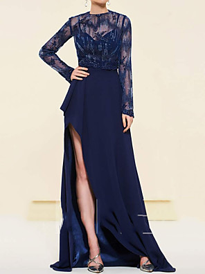 cheap Prom Dresses-Sheath / Column Mother of the Bride Dress Elegant See Through Illusion Neck Sweep / Brush Train Chiffon Lace Long Sleeve with Appliques Split Front 2020