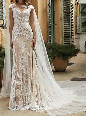 cheap Wedding Dresses-A-Line Wedding Dresses Jewel Neck Chapel Train Lace Tulle Sleeveless Sexy See-Through with Embroidery 2020