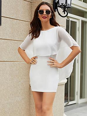 cheap Evening Dresses-Women's Sheath Dress - Short Sleeves Solid Color Summer Casual Mumu 2020 White S M L XL