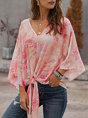 cheap Summer Dresses-Women's Tie Dye Print Asymmetric Knotted T-shirt Daily V Neck Red / Light Blue