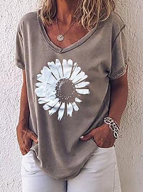 cheap Women's T-shirts-Women's T-shirt Geometric Tops Gray / Short Sleeve