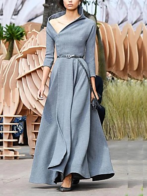 cheap Evening Dresses-Sheath / Column Elegant Minimalist Wedding Guest Formal Evening Dress V Neck 3/4 Length Sleeve Floor Length Spandex with Sleek 2020