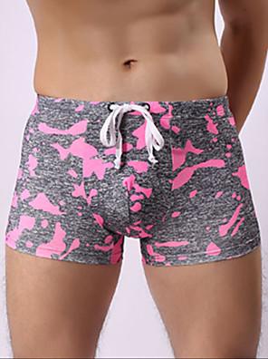 cheap Men's Exotic Underwear-Men's Print Boxers Underwear - Normal Mid Waist Blushing Pink Orange Green S M L