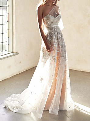 cheap Wedding Dresses-A-Line Wedding Dresses Sweetheart Neckline Court Train Lace Sleeveless Sexy Wedding Dress in Color See-Through with Appliques 2020