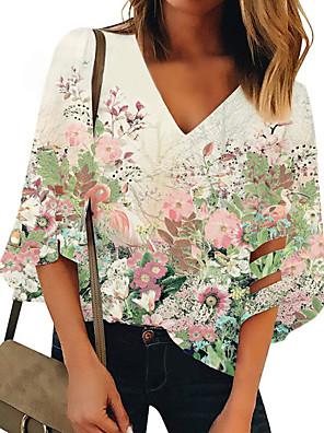 cheap Women's Blouses & Shirts-Women's Tank Top Floral Print V Neck Tops Loose Green