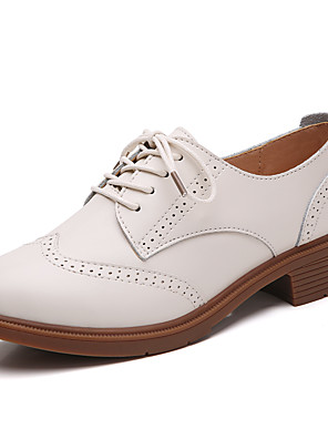 cheap Women's Blouses-Women's Oxfords Spring & Summer / Fall & Winter Flat Heel Round Toe Daily Outdoor Leather Black / Beige