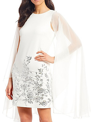 cheap Evening Dresses-Sheath / Column Mother of the Bride Dress Elegant Jewel Neck Knee Length Chiffon Long Sleeve with Pattern / Print 2020