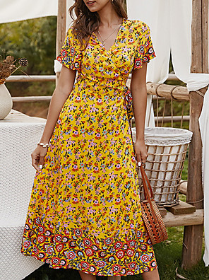 cheap For Young Women-Women's A Line Dress - Short Sleeves Floral Summer V Neck Casual 2020 Yellow Green Navy Blue S M L XL