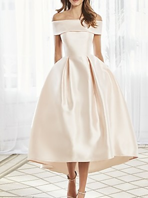 cheap Prom Dresses-A-Line Mother of the Bride Dress Elegant Off Shoulder Ankle Length Satin Short Sleeve with Pleats 2020