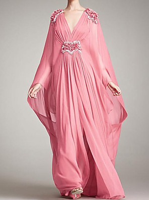 cheap Evening Dresses-A-Line Floral Pink Engagement Formal Evening Dress V Neck Long Sleeve Floor Length Chiffon with Pleats Appliques 2020