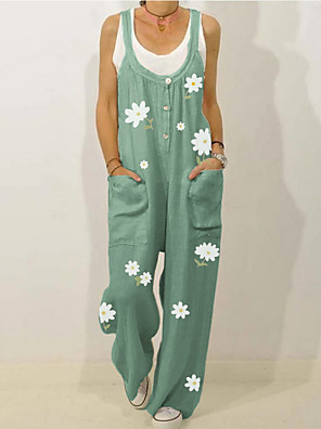 cheap Women's Skirts-Women's Black Green Beige Jumpsuit Onesie, Floral M L XL