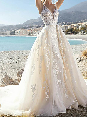 cheap Wedding Dresses-A-Line Wedding Dresses V Neck Court Train Lace Tulle Sleeveless Formal Sexy See-Through with Embroidery Appliques 2020