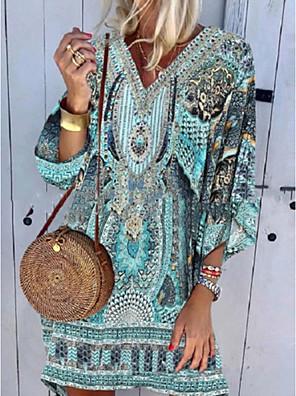 cheap Summer Dresses-Women's A-Line Dress Knee Length Dress - 3/4 Length Sleeve Geometric Summer Elegant 2020 Blue S M L XL XXL XXXL