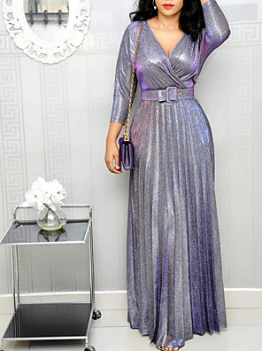 cheap Maxi Dresses-Women's Maxi Sheath Dress - 3/4 Length Sleeve Solid Colored Deep V Elegant Purple Blushing Pink Silver M L XL