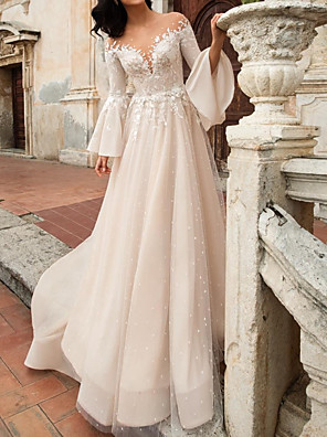 cheap Cocktail Dresses-A-Line Wedding Dresses V Neck Court Train Chiffon Lace Tulle Long Sleeve Formal with Embroidery Appliques 2020