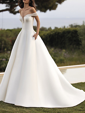 cheap Wedding Dresses-A-Line Wedding Dresses Off Shoulder Court Train Satin Sleeveless Simple with Beading 2020
