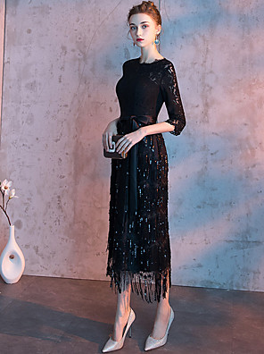 cheap Evening Dresses-Sheath / Column Sparkle Black Homecoming Cocktail Party Dress Jewel Neck Half Sleeve Ankle Length Lace Sequined with Sash / Ribbon Tassel 2020