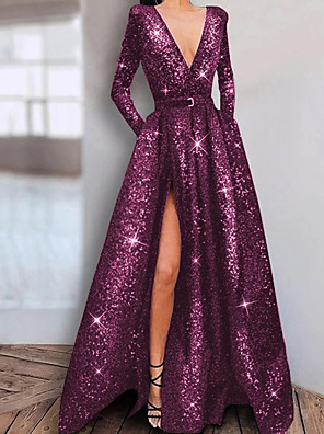 cheap Special Occasion Dresses-A-Line Elegant Sparkle Engagement Prom Dress V Neck Long Sleeve Floor Length Stretch Satin Sequined with Sequin Split 2020