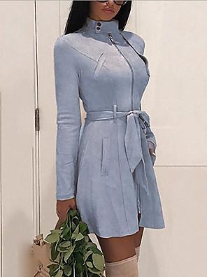 cheap Mini Dresses-Women's A Line Dress - Long Sleeve Solid Color Summer Street chic 2020 Black Blue Khaki Dark Gray S M L XL