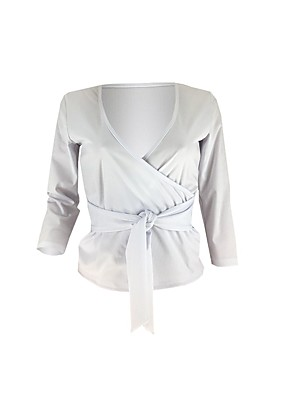 cheap Women's Blouses & Shirts-Women's Blouse Solid Colored Knotted V Neck Tops Slim Basic Spring Fall White