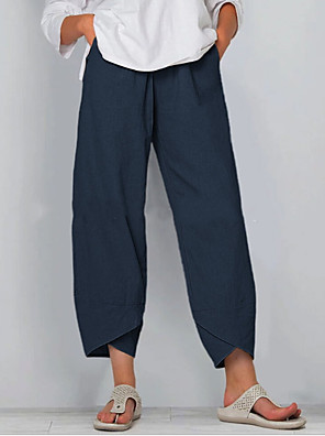 cheap Women's Pants-Women's Basic Loose Wide Leg Pants - Solid Colored Black Blue Khaki S / M / L