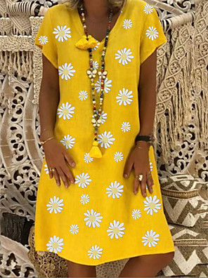cheap Summer Dresses-Women's Shift Dress Daisy Knee Length Dress - Short Sleeves Floral Print Summer Casual Daily Holiday 2020 Black Yellow Khaki Green S M L XL XXL XXXL XXXXL XXXXXL