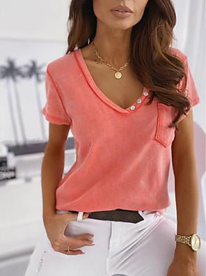 cheap Women's Blouses & Shirts-Women's Blouse Solid Colored Tops Basic V Neck Dusty Rose Khaki Gray / Short Sleeve