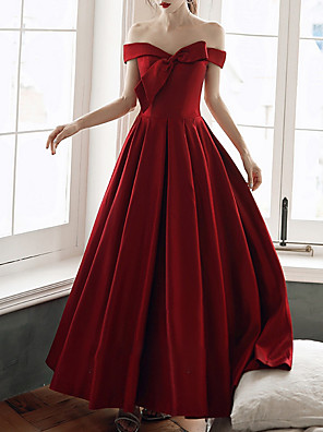 cheap Prom Dresses-A-Line Minimalist Red Engagement Formal Evening Dress Off Shoulder Short Sleeve Floor Length Satin with Bow(s) 2020