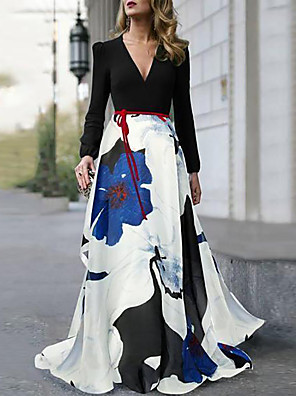 cheap Prom Dresses-A-Line Floral Maxi Holiday Prom Dress V Neck Long Sleeve Floor Length Spandex Satin with Pattern / Print 2020 / Puff / Balloon Sleeve