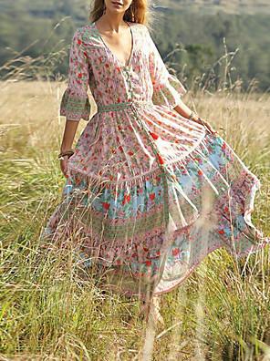 cheap Prom Dresses-Women's Sheath Dress - Half Sleeve Floral Summer Elegant 2020 Blue Red Blushing Pink S M L XL XXL
