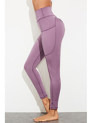 cheap Leggings-Women's Sports / Yoga Sporty / Basic Legging - Solid Colored High Waist Black Purple S M L