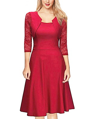 cheap Romantic Lace Dresses-Women's A Line Dress - 3/4 Length Sleeve Solid Color Summer Work 2020 Wine Black Red Blushing Pink Green Navy Blue S M L XL XXL