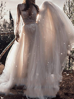 cheap Wedding Dresses-A-Line Wedding Dresses V Neck Sweep / Brush Train Lace Tulle Long Sleeve Boho Sexy See-Through with Sashes / Ribbons 2020