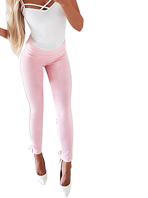 cheap Summer Dresses-Women's Basic Chinos Pants - Solid Colored Blushing Pink White S M L