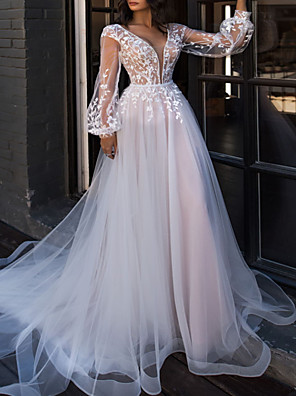 cheap Wedding Dresses-A-Line Wedding Dresses V Neck Sweep / Brush Train Lace Tulle Long Sleeve Beach Sexy See-Through with Embroidery Cascading Ruffles 2020