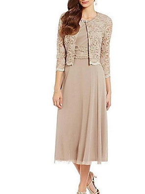cheap Prom Dresses-Sheath / Column Mother of the Bride Dress Elegant Jewel Neck Tea Length Chiffon Lace 3/4 Length Sleeve with Lace Sash / Ribbon 2020