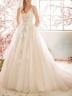 cheap Evening Dresses-A-Line Wedding Dresses V Neck Sweep / Brush Train Tulle Sleeveless Vintage Sexy Wedding Dress in Color See-Through Backless with Pleats Embroidery Appliques 2020