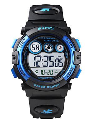 cheap Kids' Watches-SKMEI Kids Digital Watch Digital Sporty Outdoor Water Resistant / Waterproof PU Leather Black / Red / Purple Digital - White+Sky Blue Black Blue Two Years Battery Life / Calendar / date / day