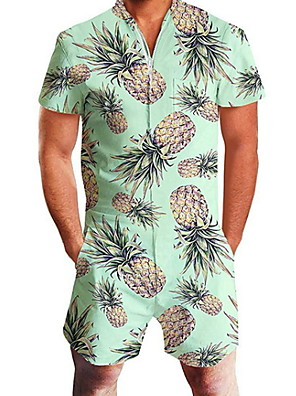 cheap Men's Exotic Underwear-Men's Basic Green Romper Fruit Print
