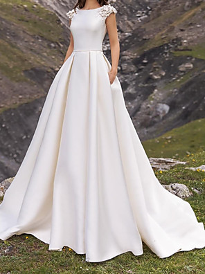 cheap Wedding Dresses-A-Line Wedding Dresses Jewel Neck Sweep / Brush Train Satin Cap Sleeve Simple with Appliques 2020
